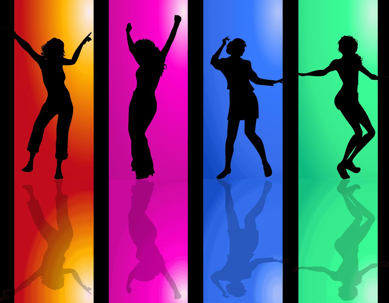 楽しくダンスを踊る人々のシルエット