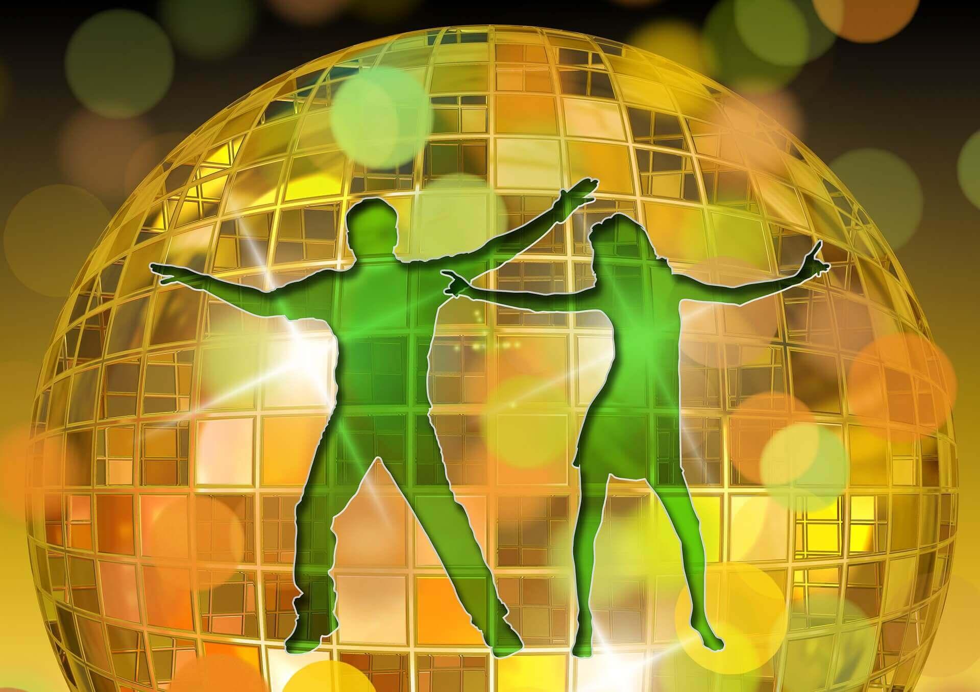 ミラーボールとダンサーのイラスト