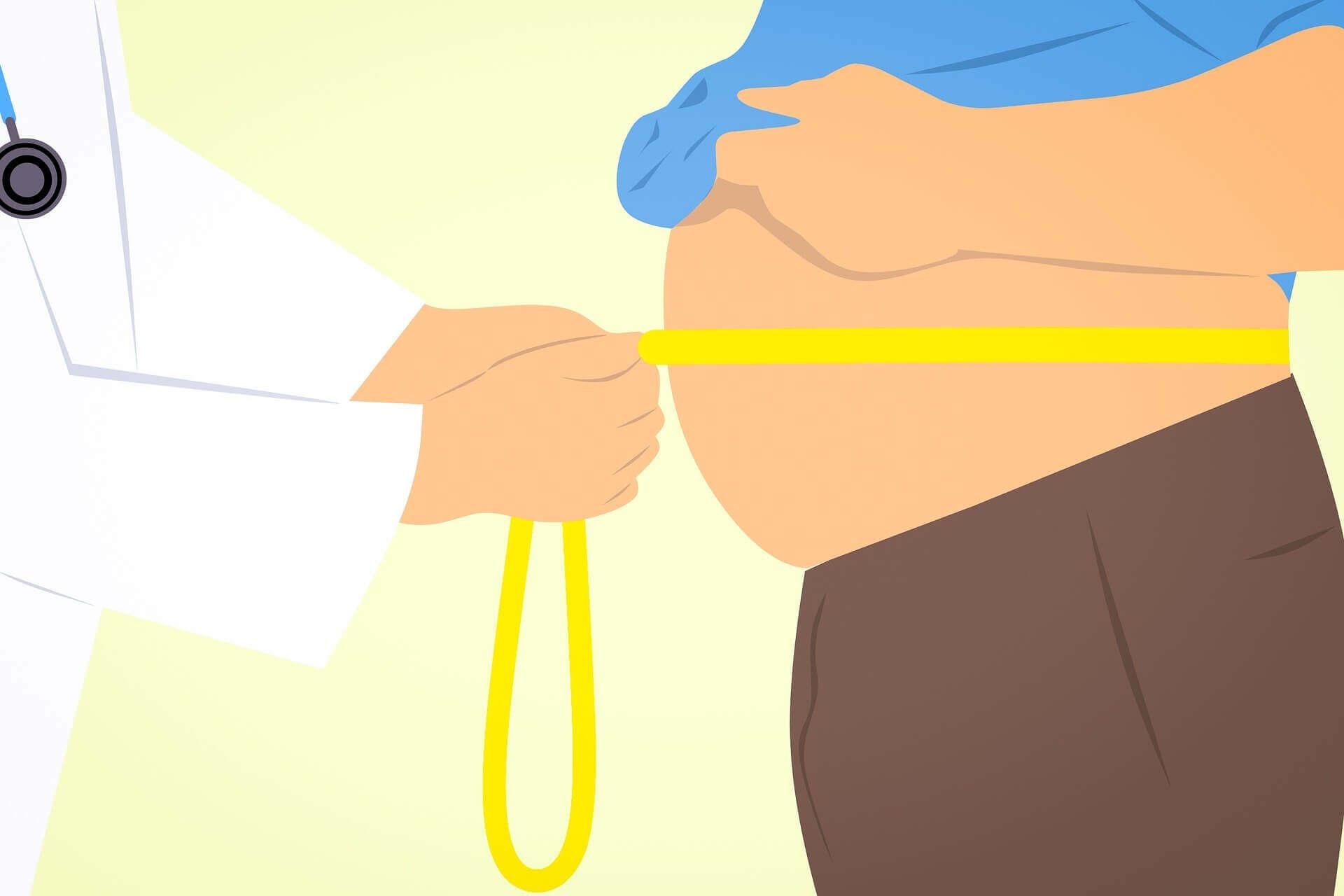肥満な男性の腹部